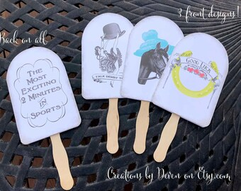 Kentucky Derby Party Printable Instant Download Hand Fans, set of 3 designs to make yourself