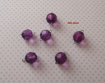 Purple faceted bead clear 15mm