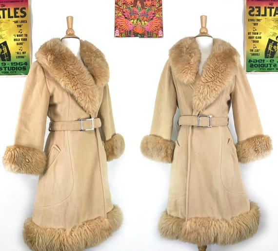 faux coat shearling coat 1970s fur maxi 70s coat jacket coat boho Penny vegan trench jacket retro Lane afghan vintage Penny Lane belted qUwBXnfWB