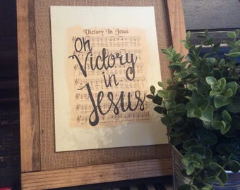 Victory in Jesus | Hand Painted Sign | hymn