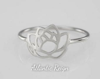 Silver 'Lotus Flower' Ring