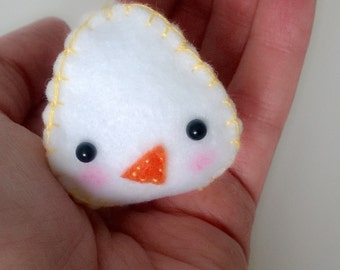 FREE US SHIPPING White Chick Bird Animal Figurine Stuffed Animal Ooak Doll Miniature Cute Small Easter Egg Gift