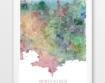 Montevideo poster etsy montevideo city urban map poster montevideo street print watercolor map montevideo uruguay modern publicscrutiny Gallery