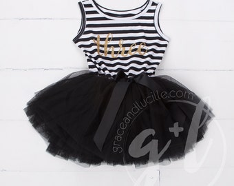 Third Birthday outfit three dress or Black and white with gold glitter, third birthday dress, third birthday outfit, 3rd birthday
