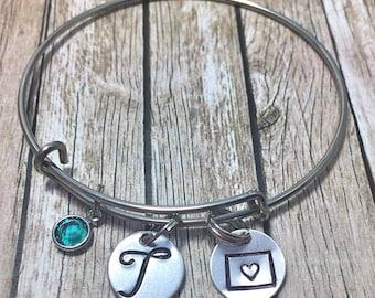 Graduation Gift - Colorado bracelet - Colorado jewelry - Colorado - Colorado state - Colorado pendant - State bracelet - Bracelet