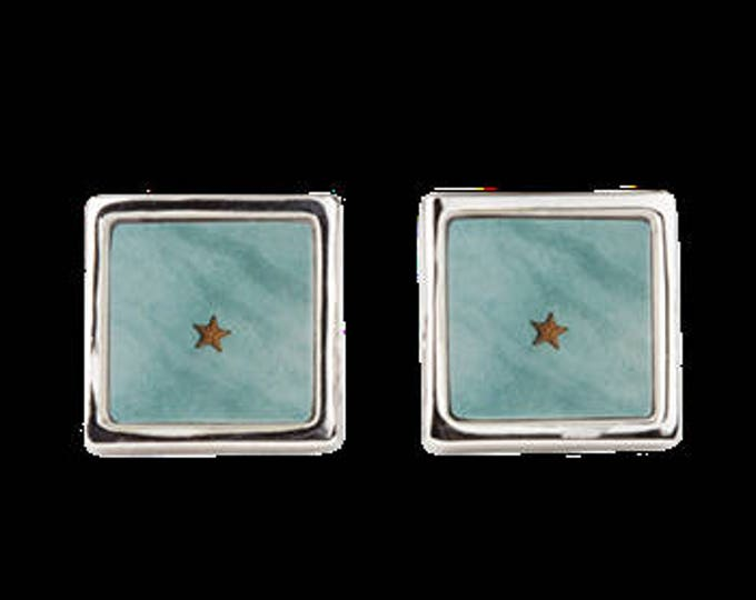 "Square Cuff Links ""Starfish in Turquoise Ocean Water"""