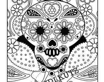 Instant digital download, Sugar Skull, Day of the Dead,  Coloring Page, Adult Coloring, Folk Art Design, Mexican Folk Art,