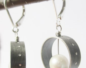 Hoop pearl earring ,oxidized artisan dangle with lever back, industrial
