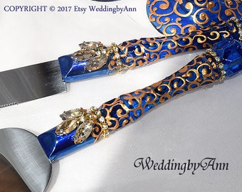 Royal Blue and Gold Wedding Cake Serving Set, Wedding Cake Serving Set- Wedding Cake and Knife Serving Set, Cake Accessories, Bridal shower