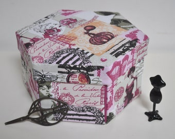 Hexagonal Sewing Box - Hand Made Fabric Covered Cartonnage - La Parfumerie
