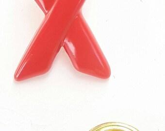 Red Awareness Plastic Ribbon Pin Badge