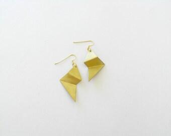 Folded Gold Earrings-Gold Earrings-Gold Folded Earrings-Contemporary Jewelry-Statement-Modern Jewellery-Folded Jewellery-Geometric