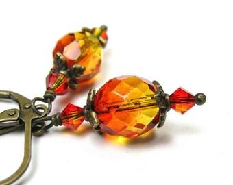 Two-tone Orange and Yellow Czech Glass and Swarovski Dangle Earrings, Fire Opal Swarovski Earrings, Autumn Color Antiqued Brass Earrings