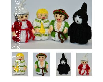 Doll Knitting Pattern - Christmas Dolls - Knit Doll - Toy Knitting Pattern - Christmas Carol - Scrooge - Charles Dickens - Doll Making