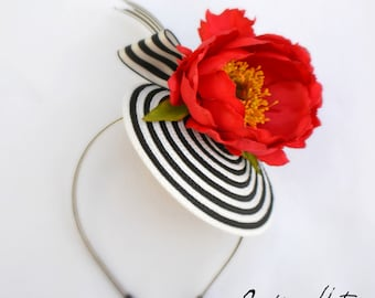 Kentucky Derby Fascinator,ST TROPEZ FASCINATOR with sassy red poppy and stylish striped base, very chic