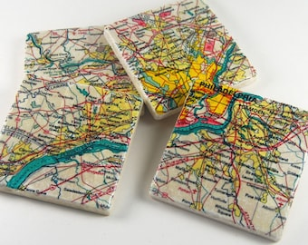 Philadelphia Area drink coasters, philly coasters, stone coasters