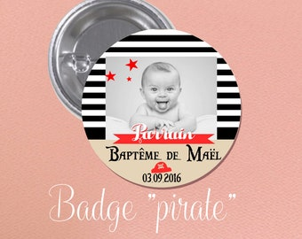 """BADGE of baptism for guest gift theme """"pirate"""""""