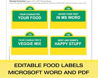 Street Sign EDITABLE Food Labels | You edit in MS Word or Editable PDF|  Create as many labels as you need! | Instant Download