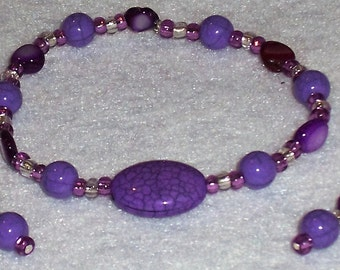 Violet Bracelet and Earring set. Large Oval Bead. Free Shipping
