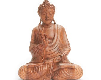 Wooden Vitarka Suar Wood Buddha Statuette - Balinese Wood Carving