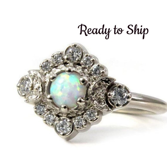 Ready to Ship - Lab Opal Moon Halo Engagement Ring - White Diamonds in 14k Palladium White Gold