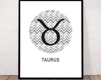 Taurus Print, Constellation Print, Taurus Poster, Constellation Poster, Constellation Symbol Print, Taurus, Geometric Poster, Taurus Decor