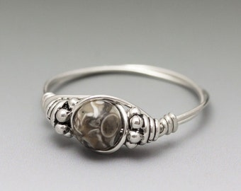 Turritella Fossil Agate Bali Sterling Silver Wire Wrapped Bead Ring - Made to Order, Ships Fast!