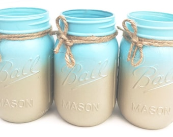 Set of 3 Hand Painted Blue and Gold Mason Jars, Ombré, Centerpieces, Sweet 16, Housewarming Gifts, Wedding, Home Decor, Babyshower!