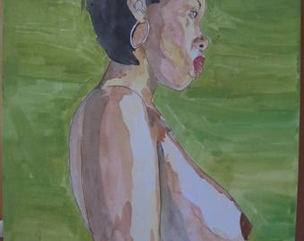 "watercolor painting drawing erotic female nude art ""Africa"""
