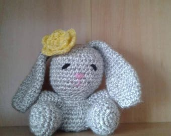 Crochet Bunny Soft Toy with Flower - Large