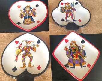 PLAYING CARD PLATES-playing card dishes-card plates