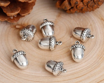3D Antiqued Silver Large Acorn Charms