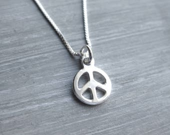 Tiny Peace Symbol Necklace Sterling Silver Peace Sign Necklace Peace Symbol Charm Peace Jewelry Tween Gift Teen Gift Layering Necklace