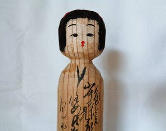 VJ870 : Kokeshi doll, Vintage Japanese wooden Artistic Kokeshi doll ,signed,hand made in Japan