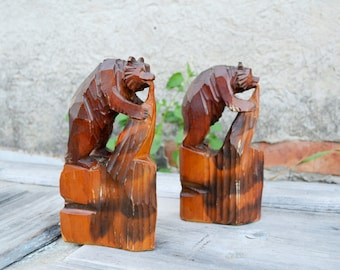 Wood Carved Bear, Collectible figurine, Pair wooden BEAR, wood Home decor, Forest woodland, set 2 Bear Figurines