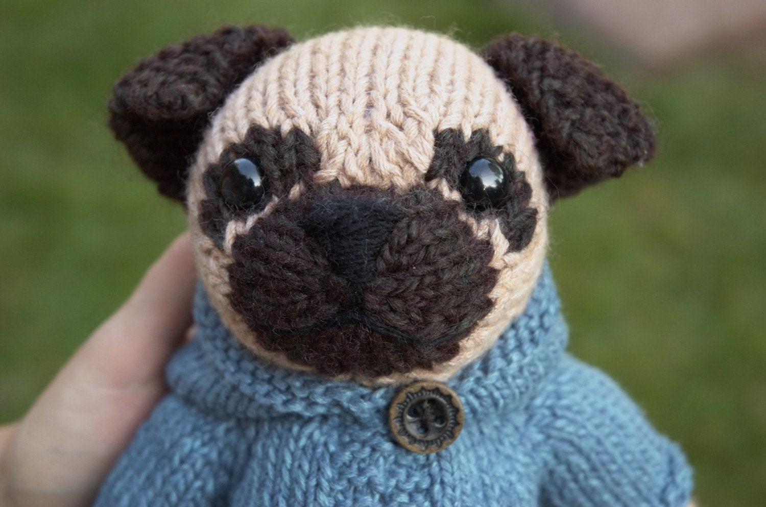 Pug with Anorak Knitting Pattern from fuzzymitten on Etsy Studio