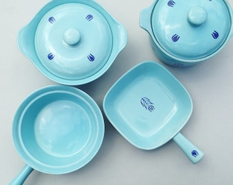 Set of four Vintage Blue Tulip Oven-Proof Cookware