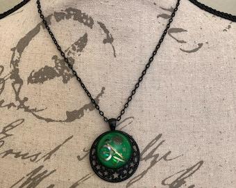 Steampunk Bubble Necklace, Green Glow Necklace, Vintage Watch Pendant, Watch Gear Necklace, Glow in the Dark, Glowing Steampunk Jewelry OOAK