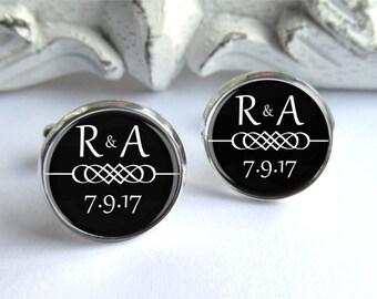 Personalized Wedding Cufflinks - Custom Infinity Cufflinks