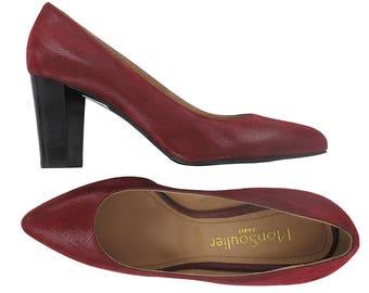 Burgundy leather pointy toe pump, Pointed toe pumps, heel leather pumps, burgundy leather shoes, women italian leather shoes, Trevise