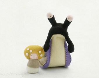 Reserved for Monica: Creative playthings, Stuffed Animal, Felt Slug, organic toy with baby mushroom Shroomper -  Arion and Mosa