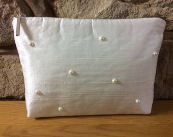 Silk with Pearls & Silver Zip Luxury Ultra Glamorous Wash Bag