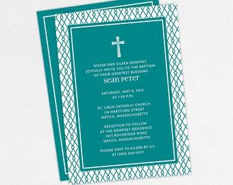 Baptism Invitation, Christening Invitation, Boy Baptism, Neutral Baptism, Printable Baptism Invitation, Printed, PDF, Modern, Teal, Sean