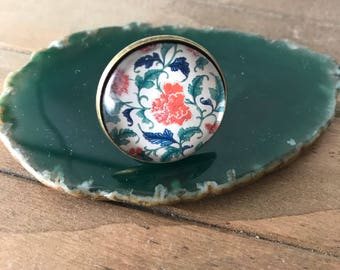Oriental flower ring, exotic ring, adjustable ring