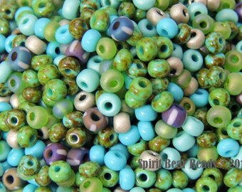 Irish Spring Czech Glass seed bead Mix size 6/0 50 Grams St Paticks Day D