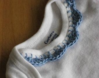Crochet Edge Onesie - Blue