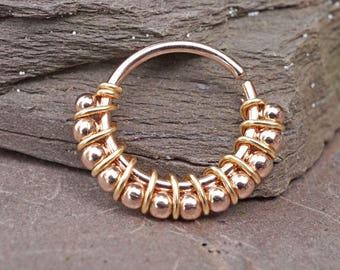 Bali Ball Rose Gold Nose Ring Hoop 20 Gauge