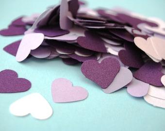 150 small paper HEARTs, Die cut Heart, die cut paper hearts, heart garland, small heart, wedding confetti, purple heart shape, paper garland