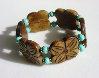 Tea Dyed Hand Carved Bone Bracelet with Floral Design / Turquoise / Brown / Flowers / Floral / Exotic / Tribal / Ethnic / Island / Beachy /