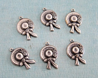 SALE 6 Silver Garden Hat Charms 3914